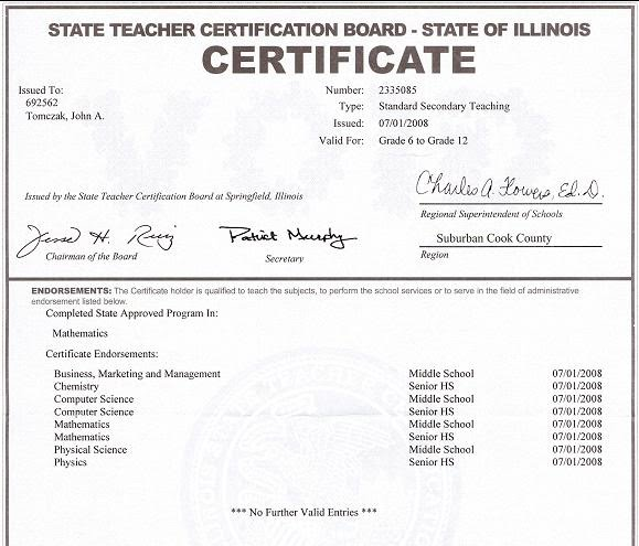 IL State Teaching Certificate - Tomczak Tutoring Services